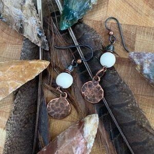 Copper/Wood Safari earrings. Niobium wire